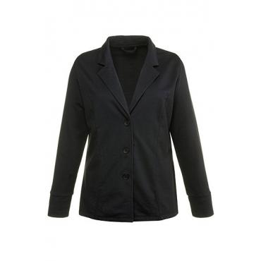 Ulla Popken Damen  Jerseyblazer, oil dyed, Ziereinsatz, reine Baumwolle, schwarz, Gr. 56, Mode in großen Größen