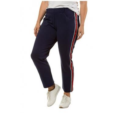 Ulla Popken Damen  Jogginghose, seitliche Streifen, gerades Bein, Gummibund, dunkelblau, Gr. 58/60, Mode in großen Größen