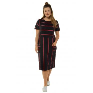 Ulla Popken Jerseykleid Damen, marine, Baumwolle, Mode in großen Größen