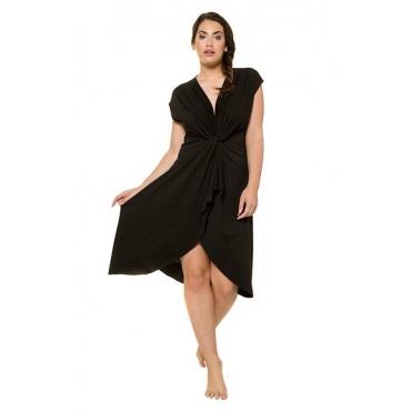 Ulla Popken Damen  Jerseykleid, drapierte Büste, Modalmischung, schwarz, Gr. 50/52, Mode in großen Größen