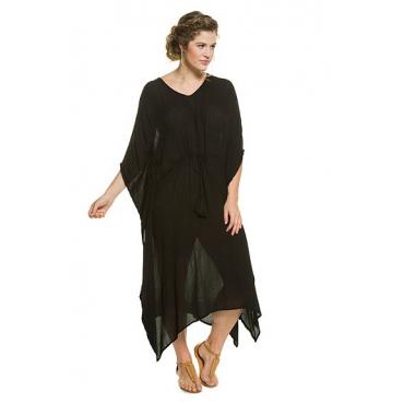Ulla Popken Damen  Kaftankleid, weite Form, Taillen-Bindeband, schwarz, Gr. 42-48, Mode in großen Größen