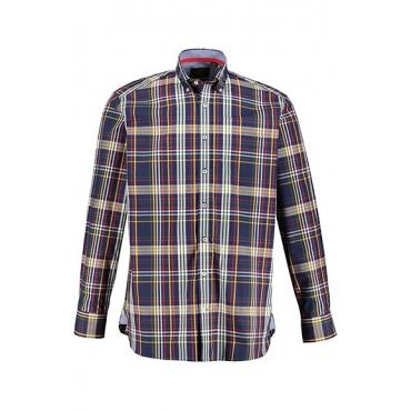 JP1880 Herren  Karohemd, Buttondown-Kragen, Comfort Fit, dunkelmarine, Gr. XXL, Mode in großen Größen