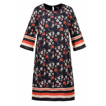 Ulla Popken Damen  Kleid, Blütenmuster, Streifenbordüre, Jerseyfutter, 3/4-Arm, marine, Gr. 58/60, Mode in großen Größen