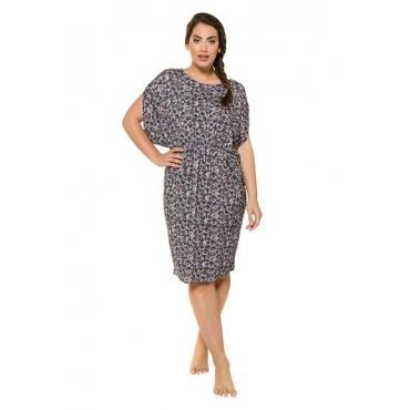 Ulla Popken Damen  Kleid, Blütenmuster, weite Schultern, elastische Taille, mehrfarbig, Gr. 54/56, Mode in großen Größen