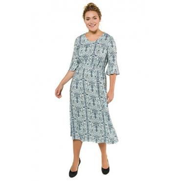 Ulla Popken Damen  Kleid, Blumenmuster, Smokeinsatz, Volantärmel, türkisgrün, Gr. 58, Mode in großen Größen