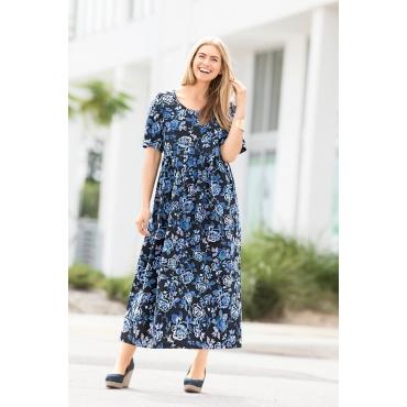 Ulla Popken  Kleid Damen Größe 58/60, blaue blümchen, Mode in großen Größen