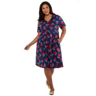 Ulla Popken  Kleid Damen Größe 58/60, navy-multicolor, Mode in großen Größen