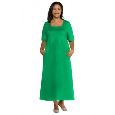 Ulla Popken Damen  Kleid, Empire-Silhouette, Carree-Ausschnitt, Halbarm, blattgrün, Gr. 58/60, Mode in großen Größen