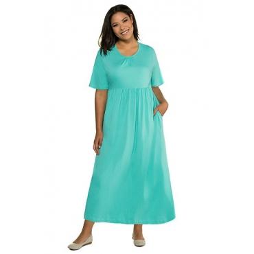 Ulla Popken Damen  Kleid, Empire-Silhouette, Halbarm, reine Baumwolle, mintgrün, Gr. 50/52, Mode in großen Größen