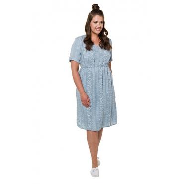 Ulla Popken Damen  Kleid, Ethnomuster, weiche Lyocellqualität, light blue, Gr. 58/60, Mode in großen Größen