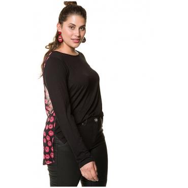 Studio Untold Damen  Langarm-Shirt mit bedrucktem Mesh-Rücken, schwarz, Gr. 46/48, Mode in großen Größen