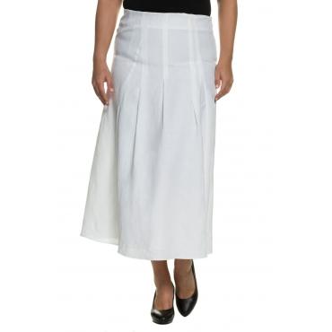 Ulla Popken  Leinenrock Damen Größe 54, weiß, Mode in großen Größen