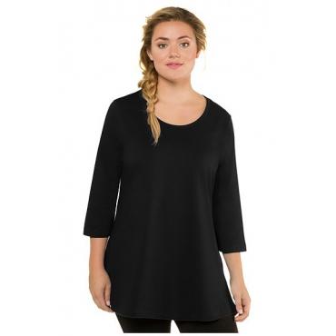 Ulla Popken Damen  Longshirt, A-Line, 3/4-Ärmel, Rundhalsausschnitt, schwarz, Gr. 58/60, Mode in großen Größen