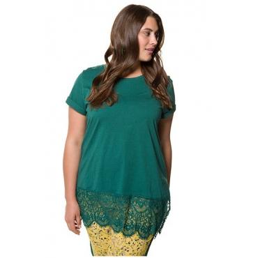 Studio Untold Damen  Longshirt, breiter Spitzensaum, Halbarm, dunkelgrün, Gr. 42/44, Mode in großen Größen