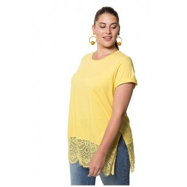 Studio Untold Damen  Longshirt, breiter Spitzensaum, Halbarm, gelb, Gr. 42/44, Mode in großen Größen