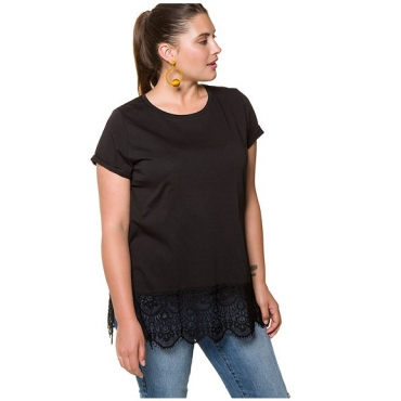 Studio Untold Damen  Longshirt, breiter Spitzensaum, Halbarm, schwarz, Gr. 42/44, Mode in großen Größen