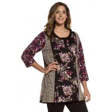 Ulla Popken  Longshirt Damen 58/60, multicolor, Baumwolle, Mode in großen Größen