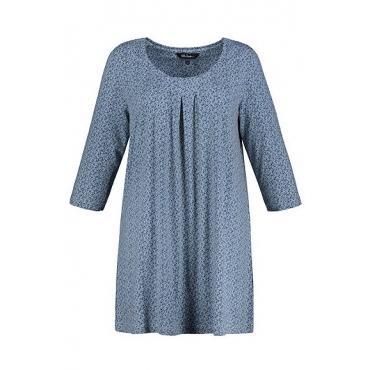 Ulla Popken Damen  Longshirt, Blütenmuster, Zierfalten, himmelblau, Gr. 58/60, Mode in großen Größen
