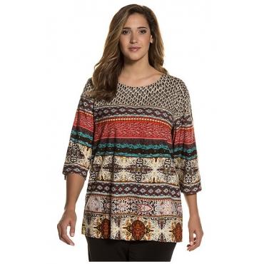 Ulla Popken Damen  Longshirt, Mustermix, runder Ausschnitt, Relaxed, mehrfarbig, Gr. 58/60, Mode in großen Größen