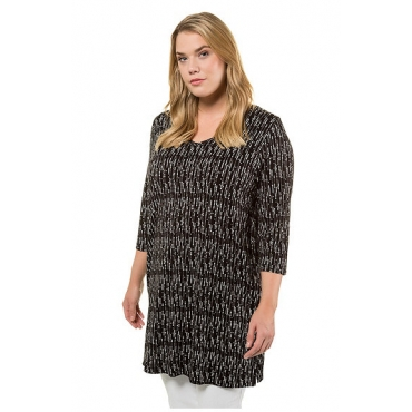 Ulla Popken Damen  Longshirt, Punkte, A-Linie, V-Ausschnitt, 3/4-Arm, schwarz, Gr. 58/60, Mode in großen Größen