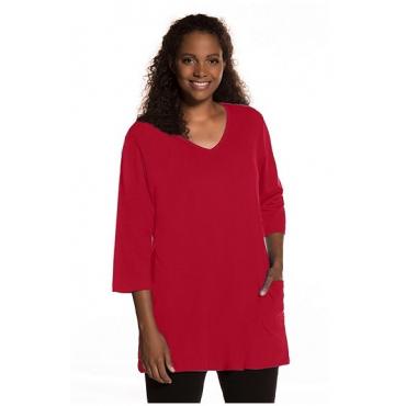 Ulla Popken Damen  Longshirt, V-Ausschnitt, Relaxed, A-Line, bis Gr. 66/68, ruby red, Gr. 58/60, Mode in großen Größen
