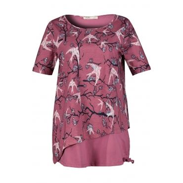 Ulla Popken Damen  Longshirt, zweilagig, Classic, Tunnelzug, Biobaumwolle, rotviolett, Gr. 58/60, Mode in großen Größen