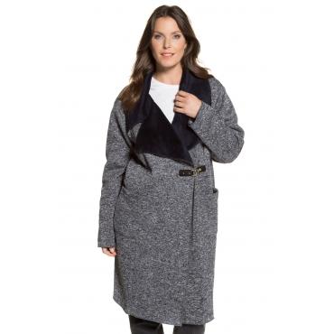 Ulla Popken Mantel Damen, rauchblau, Polyester, Mode in großen Größen
