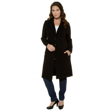 Ulla Popken  Mantel Damen 58/60, schwarz, Wolle, Mode in großen Größen