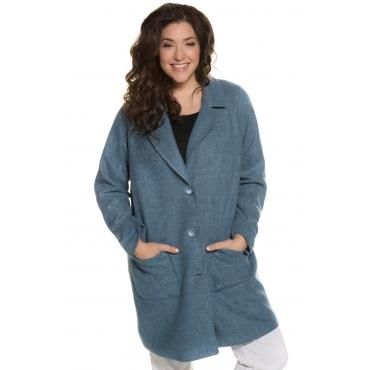 Ulla Popken Mantel Damen, blassblau-melange, Polyacryl, Mode in großen Größen