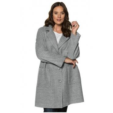 Ulla Popken Damen  Mantel, Oversized, Reverskragen, Raglanärmel, stahlgrau-melange, Gr. 58/60, Mode in großen Größen