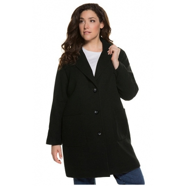 Ulla Popken Damen  Mantel, Reverskragen, Oversized, aufgesetzte Taschen, schwarz, Gr. 50/52, Mode in großen Größen