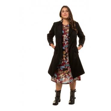 Studio Untold Damen  Mantel, Wolloptik, Revers, Langarm, schwarz, Gr. 50, Mode in großen Größen