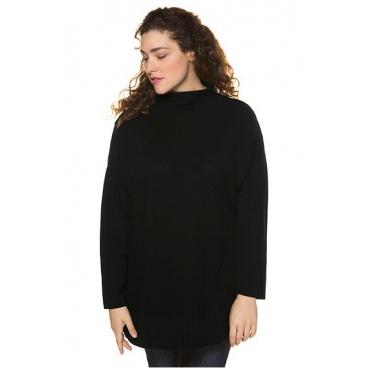 Ulla Popken Damen  Oversized-Pullover, überschnittene Schulter, Langarm, schwarz, Gr. 54/56, Mode in großen Größen