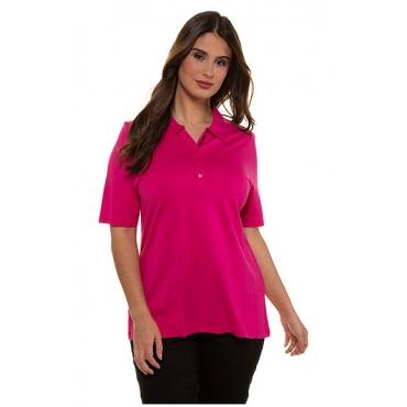 Ulla Popken Damen  Poloshirt, Modalmischung, Classic, pink, Gr. 58/60, Mode in großen Größen
