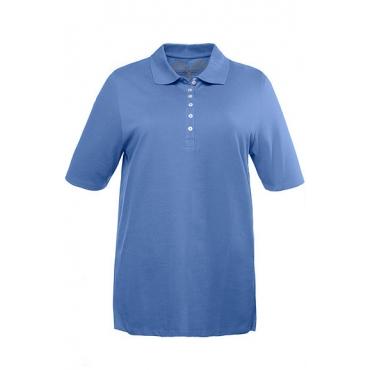 Ulla Popken Damen  Poloshirt, Regular, Samtband-Knopfleiste, Pikeequalität, blau, Gr. 58/60, Mode in großen Größen
