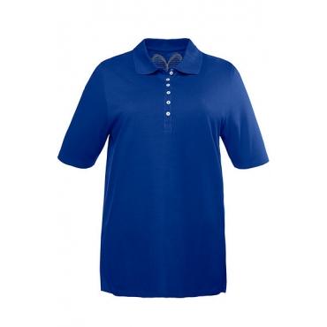 Ulla Popken Damen  Poloshirt, Samtband-Knopfleiste, Regular, Pikeequalität, 100% Baumwolle, stahlblau, Gr. 58/60, Mode in großen Größen