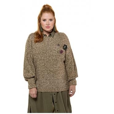 Studio Untold Damen  Pullover mit Broschen, Keulenärmel, olivgrün-melange, Gr. 54/56, Mode in großen Größen