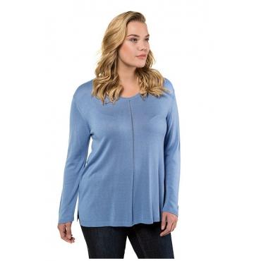 Ulla Popken Damen  Pullover, Ajour-Streifen, Regular, Seitenschlitze, blau, Gr. 58/60, Mode in großen Größen