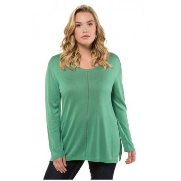 Ulla Popken Damen  Pullover, Ajour-Streifen, Regular, Seitenschlitze, grün, Gr. 58/60, Mode in großen Größen