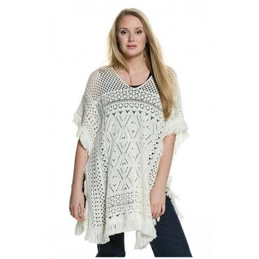 Ulla Popken Damen  Pullover, Ajourmuster, Oversized, Fransensaum, offwhite, Gr. 42-48, Mode in großen Größen