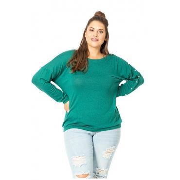 Studio Untold Damen  Pullover, asymmetrisch, linker Ärmel mit Zierperlen, dunkelgrün, Gr. 50/52, Mode in großen Größen