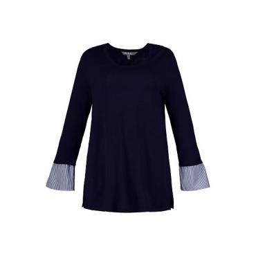 Ulla Popken Damen  Pullover, Bluseneinsatz, breiter Rundhalsausschnitt, marine, Gr. 58/60, Mode in großen Größen