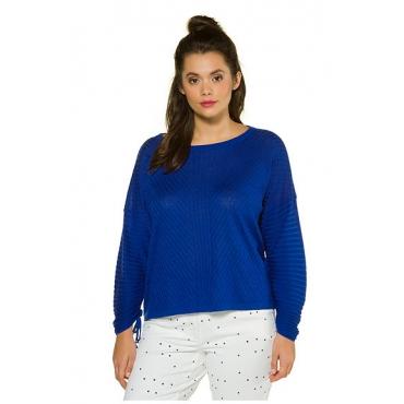 Studio Untold Damen  Pullover, Boxy-Form, Streifenmix, Lanagrm mit Raffung, royalblau, Gr. 54/56, Mode in großen Größen