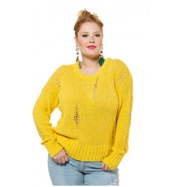 Studio Untold Damen  Pullover, Boxy-Form, Strick mit Destroyed-Effekten, gelb, Gr. 54/56, Mode in großen Größen
