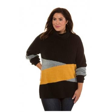 Ulla Popken Damen  Pullover, Colorblocking, längere Form, Rollkragen, senf-schwarz, Gr. 58/60, Mode in großen Größen
