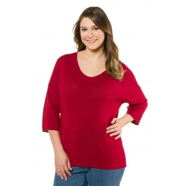 Ulla Popken  Pullover Damen 58/60, tiefes rot, Viskose, Mode in großen Größen
