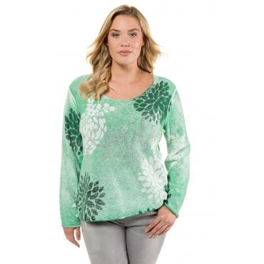 Ulla Popken  Pullover Damen 58/60, grün, Baumwolle, Mode in großen Größen