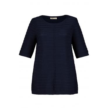 Ulla Popken Pullover Damen, rauchblau, Baumwolle, Mode in großen Größen