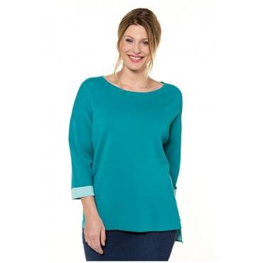 Ulla Popken Damen  Pullover, Doubleface-Strick, Oversized, U-Boot-Ausschnitt, seegrün, Gr. 58/60, Mode in großen Größen