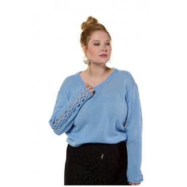 Studio Untold Damen  Pullover, Feinstrick, lange Ärmel, Zopfmuster, hellblau, Gr. 54/56, Mode in großen Größen